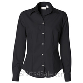 Black Ladies' Silky Poplin collared shirt