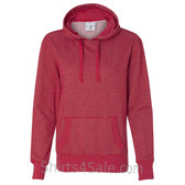 Red Ladies' Glitter French Terry Hooded Pullover