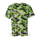 Badger Sport Adult Unisex Short Sleeve Camo Tee Shirt - Lime Green