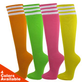 Unisex Knee High Triple Stripes Youth Nylon Soccer Knee Socks