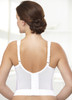 Glamorise Magic-Lift Long Line Support Bra White - Back View