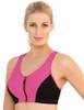 Glamorise Magic-Lift High Impact Zipper Sport Bra Pink