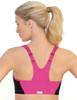 Glamorise Magic-Lift High Impact Zipper Sport Bra Pink - Back View