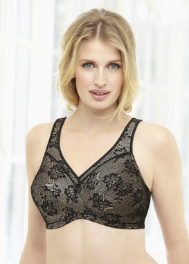 Glamorise Magic-Lift All-Over Floral Lace Support Bra Black