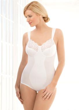 Glamorise Soft Shoulders Body Briefer Shaper Comfort & Control White