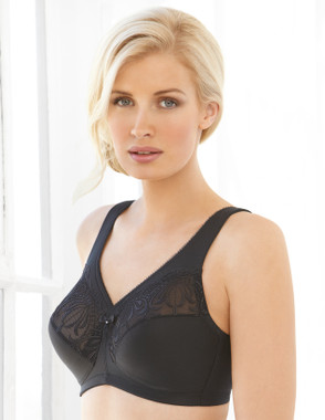 Glamorise Magic-Lift Embroidered Wirefree Support Bra Black