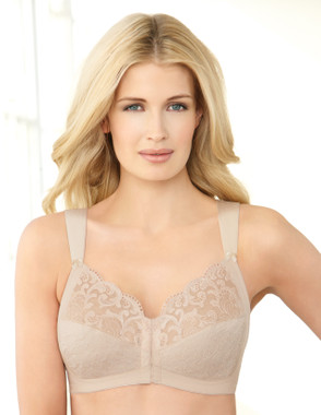 Glamorise 9815 Soft Shoulders Front-Close Racerback Bra Nude
