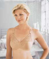 Glamorise Complete Comfort Plus Convertible Strap Stretch Lace Bra Cafe