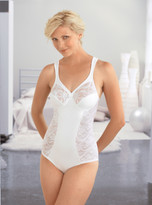 Glamorise Elegance Lace Body Briefer Shaper Firm Control White