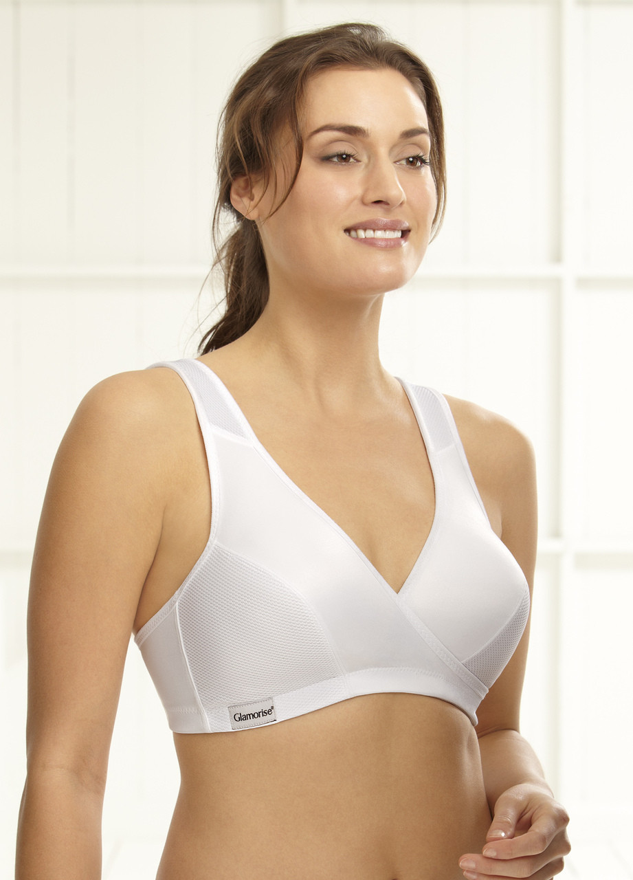 8dc5db6fc3d27 Home · Soft Cup Bras  Glamorise Sport Active Comfort Wrap Yoga Low-Impact  Bra White. Loading zoom