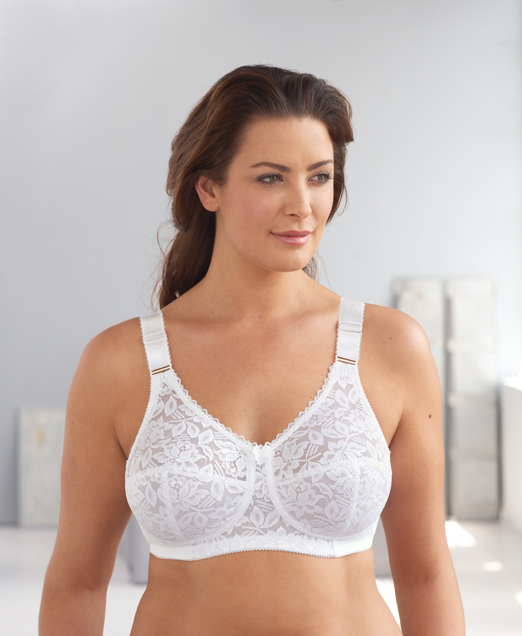 c71b24161cd ... Glamorise Classic Lace Full-Figure Soft Cup Support Bra White. Loading  zoom