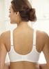 Glamorise Magic-Lift Cotton & Lace Wide-Straps Support Bra White - Back View