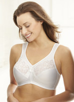 Glamorise Magic-Lift Cotton & Lace Wide-Straps Support Bra White