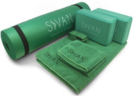 "Sivan Health and Fitness Yoga Set 6-Piece- Includes 1/2"" Ultra Thick NBR Exercise Mat, 2 Yoga Blocks, 1 Yoga Mat Towel, 1 Yoga Hand Towel and a Yoga Strap (green)"
