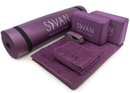 "Sivan Health and Fitness Yoga Set 6-Piece- Includes 1/2"" Ultra Thick NBR Exercise Mat, 2 Yoga Blocks, 1 Yoga Mat Towel, 1 Yoga Hand Towel and a Yoga Strap (Purple)"