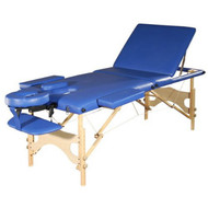 Sivan Health and Fitness HEALTH & FITNESS Three Fold Reiki Portable Massage Table and Carrying Case, Blue