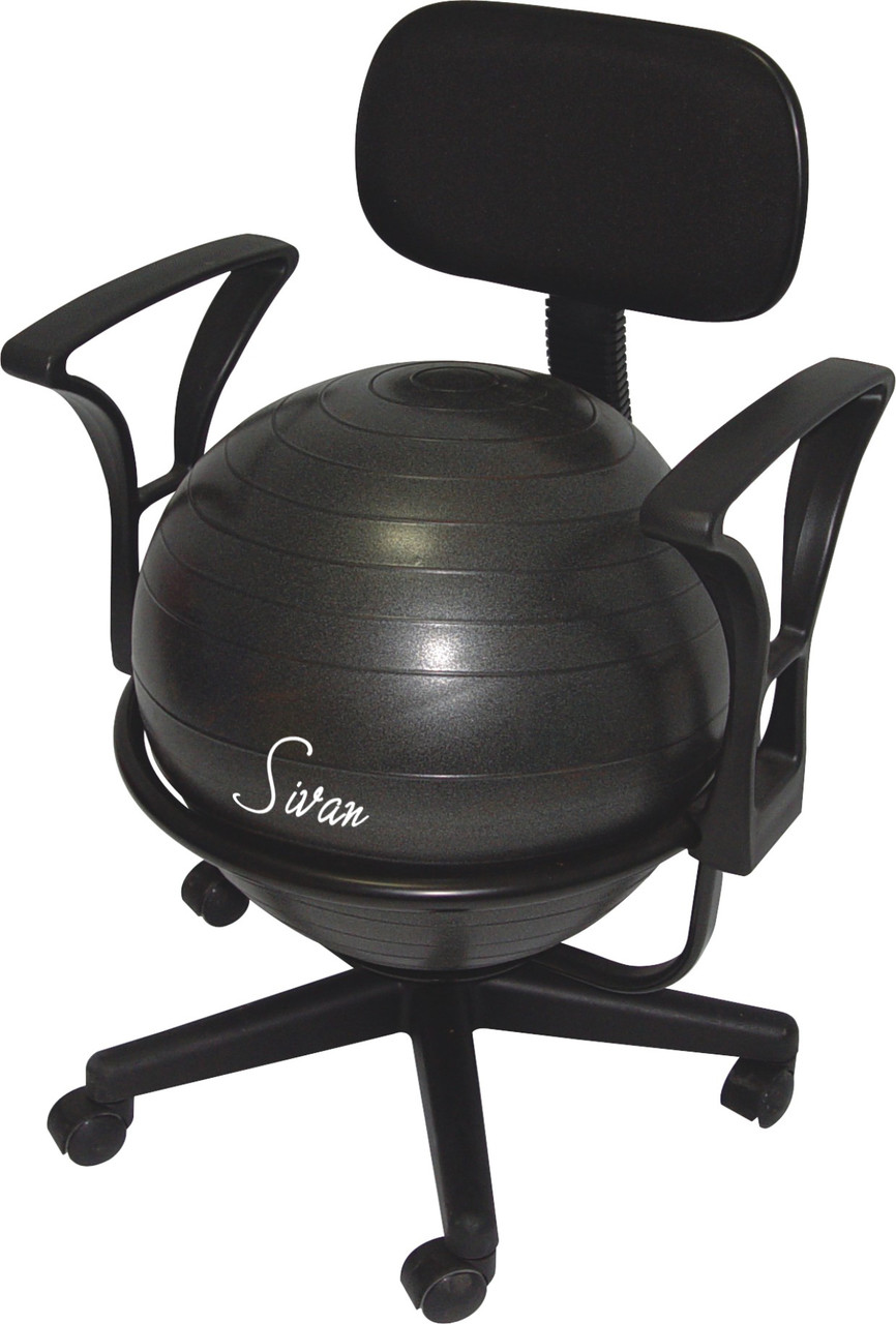 Sivan Health And Fitness Adjustable Back Balance Ball Chair With Arm Rests Ball And Pump Sivanhealthandfitness Com