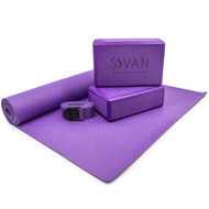 Sivan Health & Fitness 5- Piece Essentials Yoga Beginners Kit (Purple)