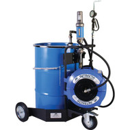 Portable trolley mounted 3:1 oil dispensing system includes metered oil control gun