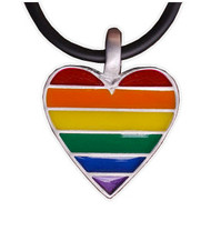 Rainbow Pride Heart - Gay & Lesbian LGBT Pride Pewter Necklace