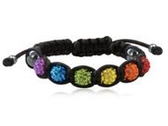 Beaded Rainbow Adjustable Black Wristlet - Gay and Lesbian LGBT Pride Bracelet