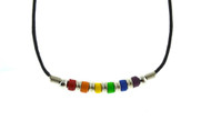 Rainbow Bottom Beaded Ceramic Gay Pride Necklace - Gay & Lesbian LGBT Pride
