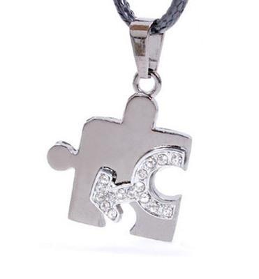 Male CZ Bling Puzzle Steel & Mars Symbol Men's Gay Pride Pendant - Gay Pride Necklace