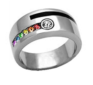 c22056bb66d2b Male Engagement Gay Marriage Ring Band For Men (Rainbow & Stripe)