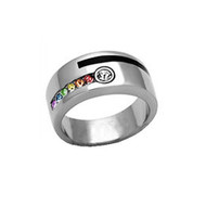 Male Engagement Gay Marriage Ring Band For Men (Rainbow & Stripe)