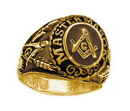Mason Gold Color Freemason College Style Masonic Rings - with classic center design and etched symbols - Stainless Steel w/ Gold Plating