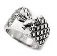 Veteran U.S. Pride - Steel American Bald Eagle Ring - Military Ring