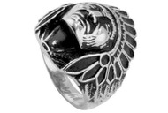 Chief Indian Biker Ring - Steel 316L Gothic Motorcycle Biker Band