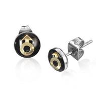 Male Symbol Stud Earrings - Gay Pride Earrings - Black and Gold