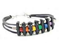 Trio Beaded Rainbow Gay Pride Bracelet - GLBT Gay and Lesbian Pride Wristlet
