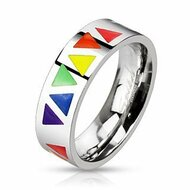 Rainbow Smooth Triangles Ring - Gay & Lesbian Pride - Rainbow Items from Reinhardt Depot