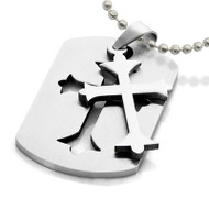 Embedded Celtic Cross Dog Tag - Gothic / Christian Stainless Steel Pendant w/ chain necklace included!