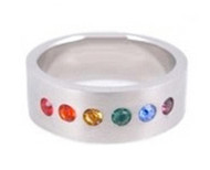 Single Line CZ - Half Rainbow Ring - Gay & Lesbian LGBT Pride