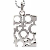 Lesbian Pendant with Female Mosaic Symbols - Lesbian Pride Necklace