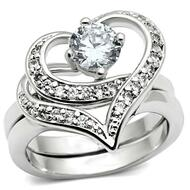 Classy Carmen CZ Hearts - 2pc Engagement Ring Commitment Anniversary Ring (Silver Color)