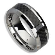 Men's Tungsten Ring (Black Carbon Fiber Inlay 8MM band)