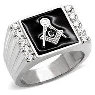 Steel Freemason Ring / Masonic Ring with Black Stone for Masons
