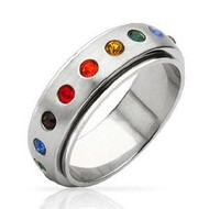 Rainbow Spinner Ring - Gay & Lesbian Pride Stainless Steel Ring w/ CZ Stones