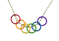 Rainbow Freedom Rings Necklace - Gay & Lesbian LGBT Pride Chain