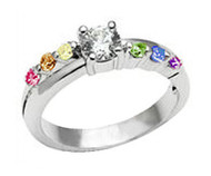 Female Lesbian Love Step CZ Wedding Band Engagement Ring (Rainbow LGBT Pride Lesbian Rings)