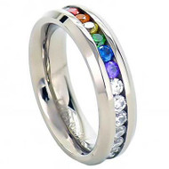 Full Clear & Rainbow String - Lesbian & Gay Engagment Wedding Ring