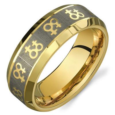 gold female symbols lesbian wedding ring band promise ring
