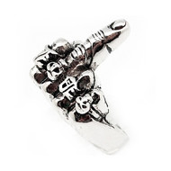 "Middle Finger ""Flicking the Bird"" Biker Ring - 316L Stainless Steel Band"