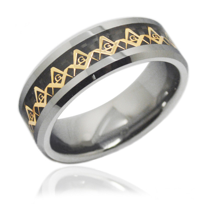 Freemason Ring / Masonic Rings - Gold and Black Inlay Tungsten Ring for Mason