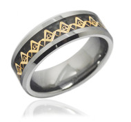 Freemason Ring / Masonic Rings - Gold and Black Inlay Tungsten Ring for Mason