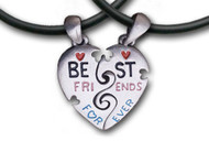 Best Friends Forever (BFF) - 2 Pewter Pendants with 2 black PVC ropes/chains included!